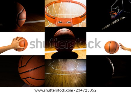 Colection of basketball sport in the gym