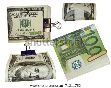 Colection of packs of 100 dollars and euro  isolated on white background