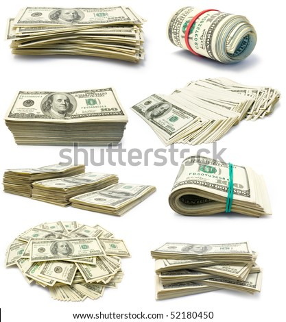 Colection of packs of dollars isolated  on white background - stock photo