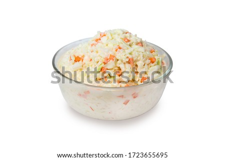 Coleslaw salad in glass bowl on white background, isolated, clipping path included Photo stock ©