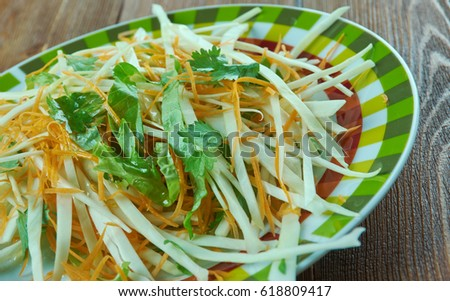 Coleslaw with carrots and lettuces. close up Stockfoto ©