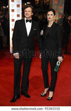 Colin and Livia Firth arriving for the BAFTA Film Awards 2012 at the Royal Opera House, Covent Garden, London. 12/02/2012  Picture by: Steve Vas / Featureflash