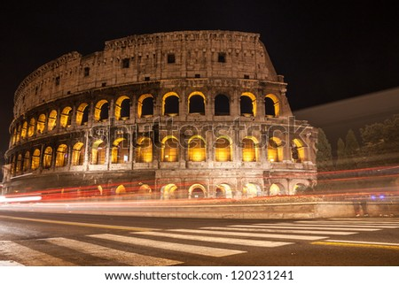 Coliseum at night in Rome, Italy
