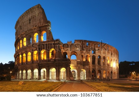 Coliseum at night, Rome - Italy.