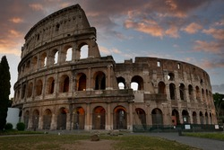 Coliseum in Rome at sunset, Italy