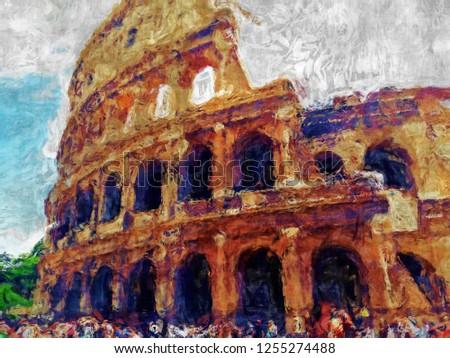 coliseum in rome italy - digital brush painting