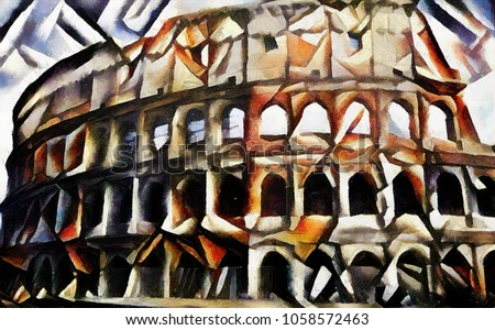 Coliseum in Rome. World architecture of cultural tourist places. The picture is made by oil on canvas with elements of pastel painting. Cubism.