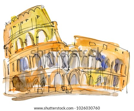 Coliseum painting on white background. Roman Colosseum. Sketch imitating ink pen drawing.  Illustration of the Colosseum in Rome, Italy.  Historical monument.