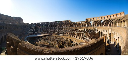 Coliseum panorama. Early morning sunlight.