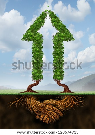 Collaborating for growth as a business agreement and cooperation concept in financial success as a group of partners working together as two arrow shaped trees with roots in the form of a hand shake.