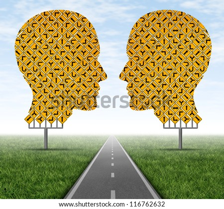 Collaborating together allowing to focus on a clear path by working as a team to achieve a common goal as shown by group of street signs in the shape of a human head with a consensus highway.