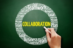 COLLABORATION word cloud collage, business concept on blackboard