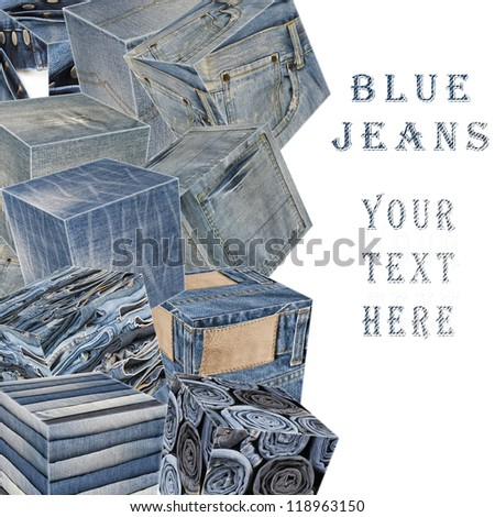Collage about blue jeans with a copy space and cubes