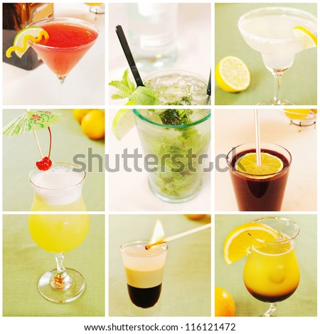 Collage about different cocktails