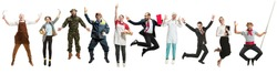 Collage about different professions. Group of men and women in uniform jumping at studio isolated on white background. Full length of people with different occupations. Buisiness, professional concept