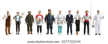 Collage about different professions. Group of men and women in uniform standing at studio on white background. Full length of people with different occupations. Buisiness, professional, labor day