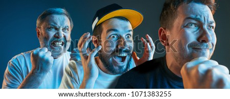 Collage about emotions of television fans. Screaming, hate, rage. Crying emotional angry men screaming in colorful bright lights at studio. Faces closeup. Human, facial expression concept. #1071383255