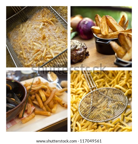Collage about french fries