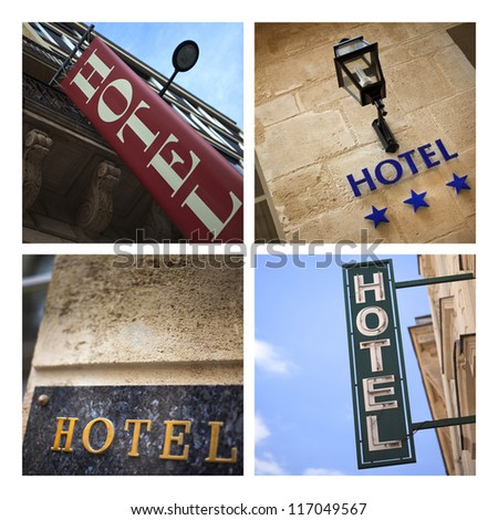Collage about hotel signs