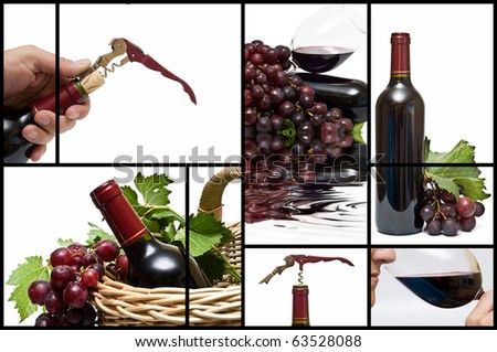 Collage about red  wine.