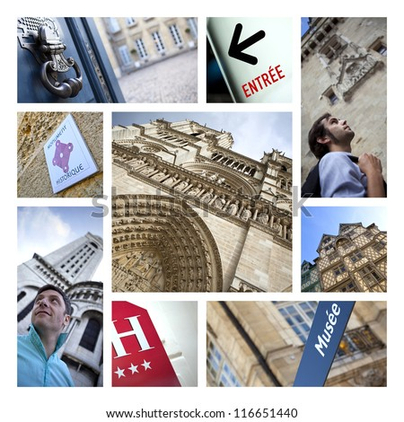 Collage about tourism and monuments in France