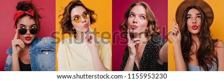 Collage adorable pensive girl in sunglasses posing on claret background. Graceful black-haired female model in vintage attire thinking about something.