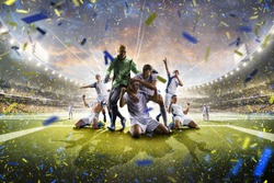 Collage adult soccer players in action on stadium panorama