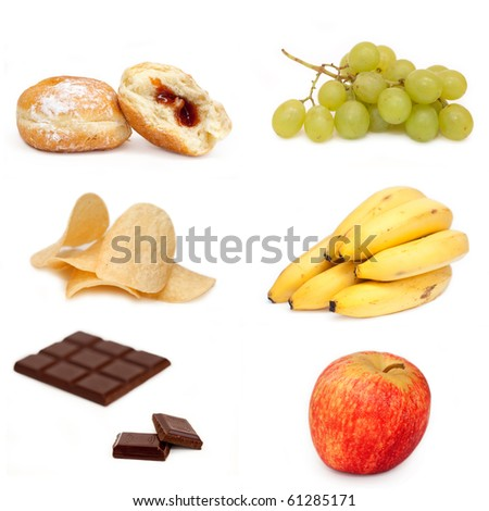 Collage-bananas, apples, grapes,chocolate,donut,chips