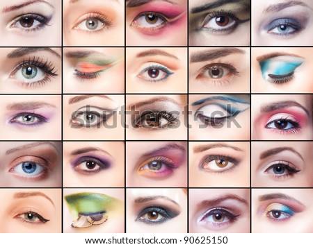 collage, beautiful make-up