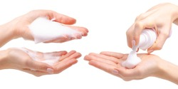 Collage beauty foam in hand on white background isolation