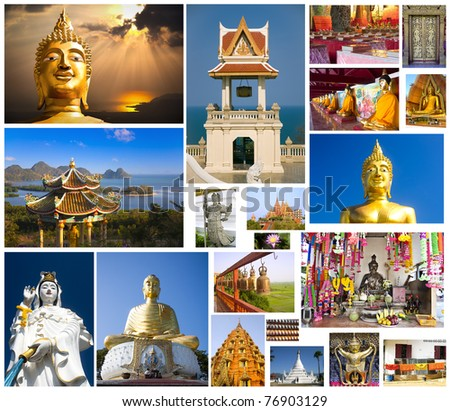Collage: Buddhist art, statues and temples