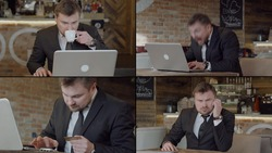 Collage, business man in a suit, jacket, shirt. He sits in an atmospheric cafe with a laptop, drinks coffee, adjusts his tie, gets emotional, is very happy, thinks, enters a Bank card.