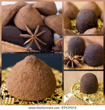 collage. chocolate truffles