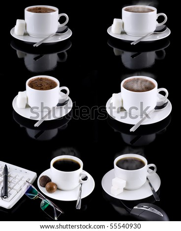 Collage (collection) of various coffee cups with coffee on black background - stock photo