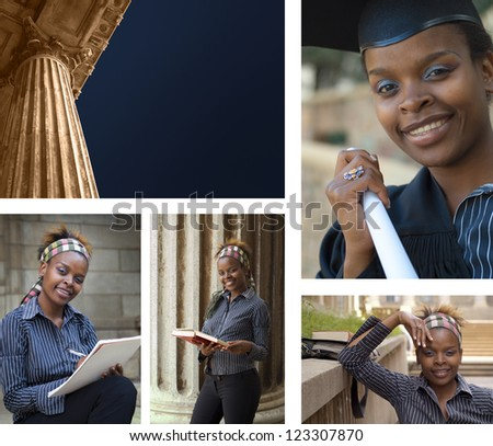 Collage combination classic greek style university college education building and African American student graduating