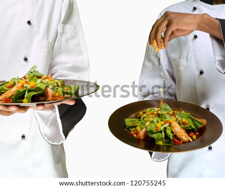 Collage combination of chef sprinkling cheese on healthy salad isolated on white