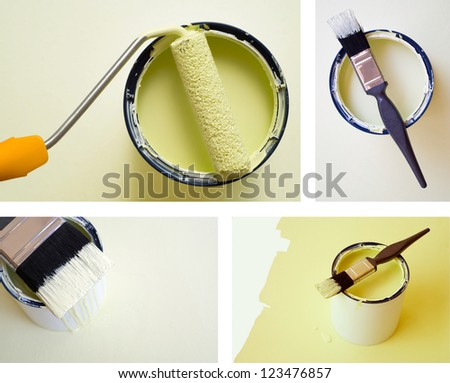 Collage combination of DIY home improvement paint bucket and roller brush
