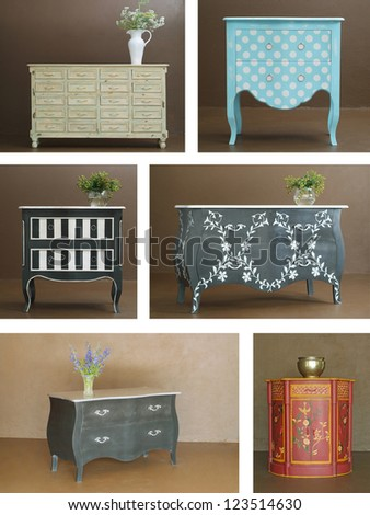 Collage combination of various hand crafted classic wooden furniture interior