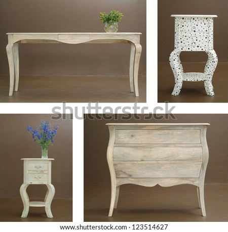 Collage combination various hand crafted classic wooden table and dresser
