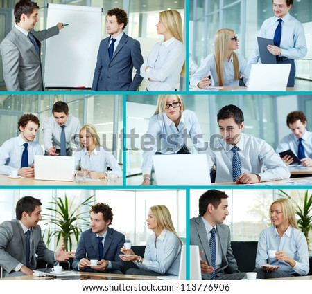 Collage composed of images of business companions working in team