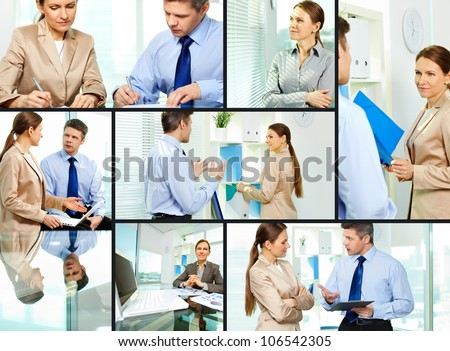 Collage composed of images of mature business people working as a team - stock photo