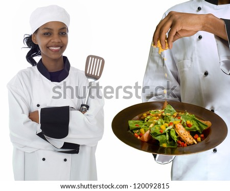 Collage composite image of woman female chef holding spatula and chef sprinkling cheese on healthy salad isolated on white