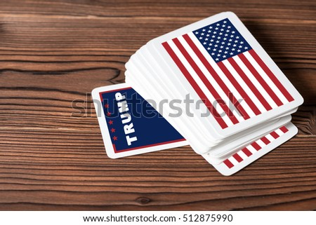 collage concept Trump winning the US presidential election with card game, close up