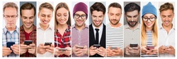 collage concepts of different caucasian happy people in casual style  and different age holding cellphone, checking and using messenger.