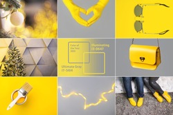 Collage demonstrating trendy colors 2021 - Gray and Yellow. Fashionable leather shoes and bag