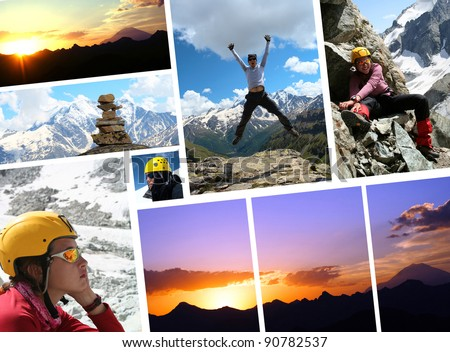 collage - early morning Elbrus and hikers  with blue sky in the background