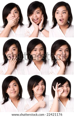 Collage expression of asian girl