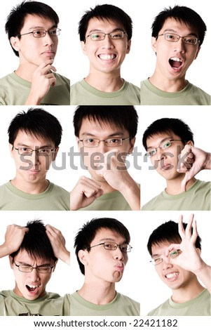 collage expression of asian male