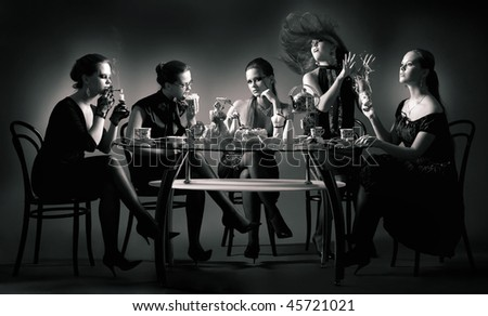 Collage. Five beauty girls tea drinking at the table over black