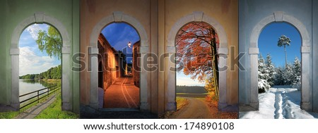 collage four seasons - lakeside, nightly alley, autumnal country road, wintry footpath in the forest.